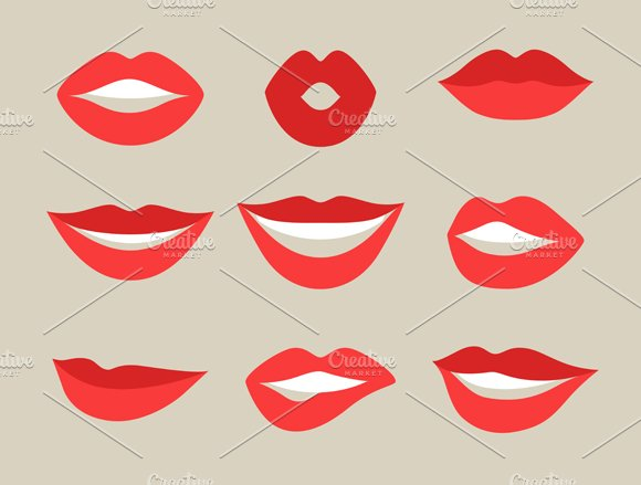 Lips set and seamless patterns. in Objects
