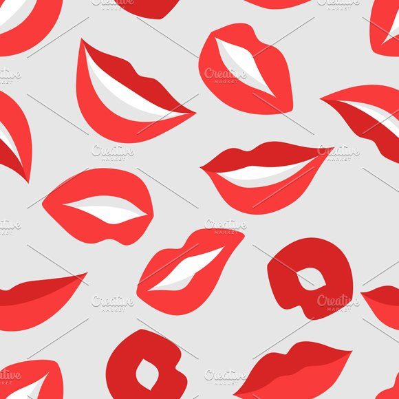 Lips set and seamless patterns. in Objects - product preview 1