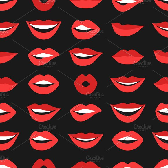 Lips set and seamless patterns. in Objects - product preview 2