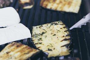 BBQ filet steak, aubergine, zucchini