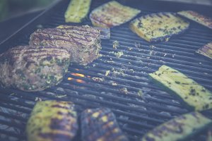 BBQ filet steak, aubergine, zucchini