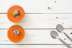Gazpacho soup and spoons