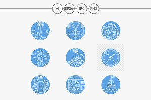 Abstract marine line icons vector