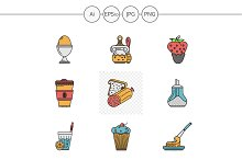 Breakfast menu vector icons. Set 2