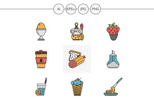 Breakfast menu vector icons. Set 2