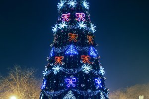 Blured blue christmas tree