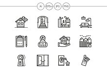 Housing agency line icons. Set 2