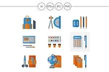 School supplies color icons. Set 2