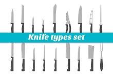 Knife types set