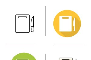 Cutting board icons. Vector