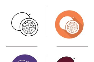 Passionfruit icons. Vector