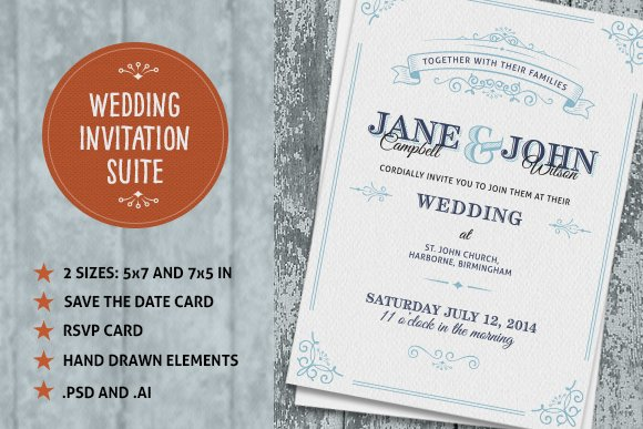 Wedding Invite Suite Invitation Templates Creative Market - Wedding invitation templates: wedding invitation suite templates