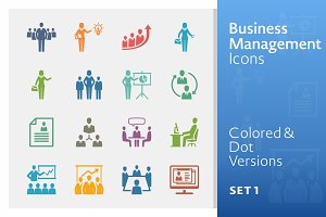 Colored Business Management Icons 1