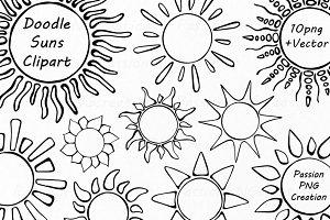 Doodle Suns Clipart