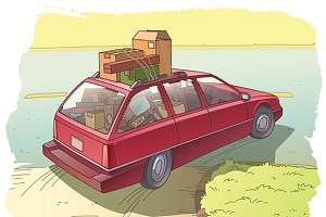 Red Station Wagon with a Cargo