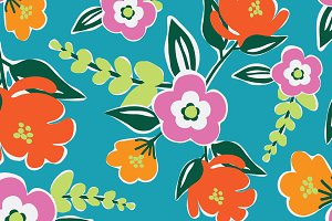 Bright Blooms Seamless Pattern