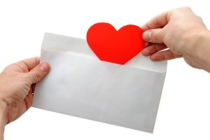 Valentine heart and envelope
