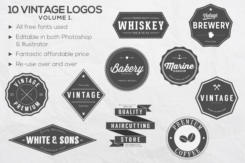 10 vintage logos vol 1 logo templates creative market. Black Bedroom Furniture Sets. Home Design Ideas