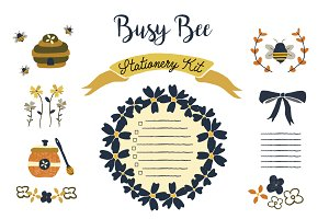 Busy Bee Stationery Kit Clip Art