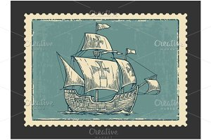 Postmark - Sailing ship floating