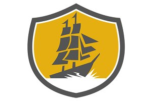 Sailing Galleon Tall Ship Crest