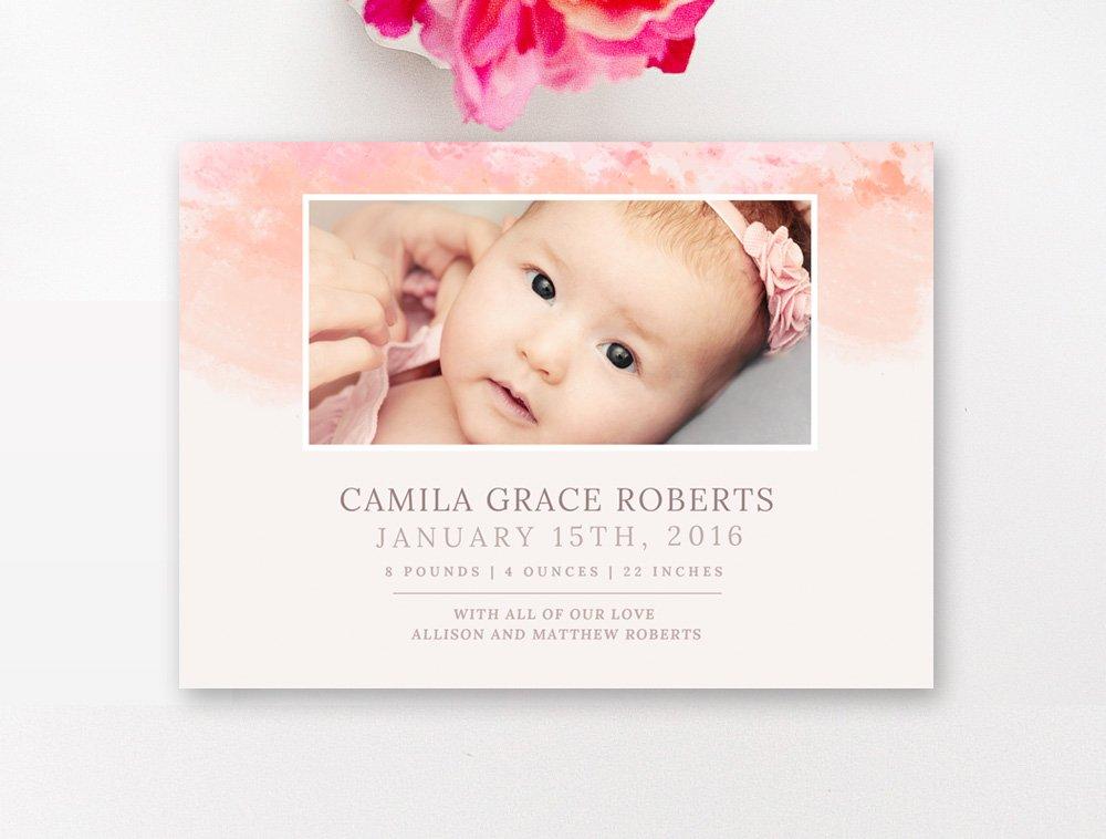 modern birth announcement template card templates creative market