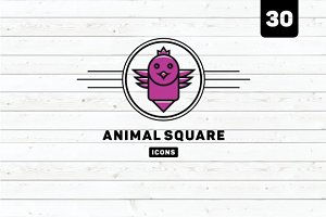 30 Animal Square Icons