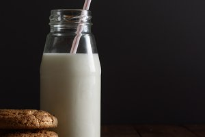 Homemade cookies and bottle of milk