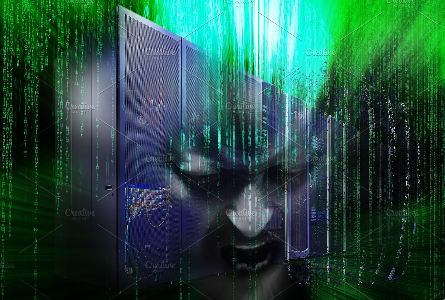 disintegration of mainframe hacker with binary code