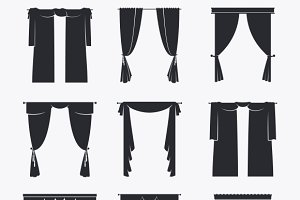 Vector black curtain icons