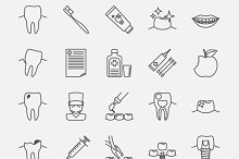 Dental clinic line icons