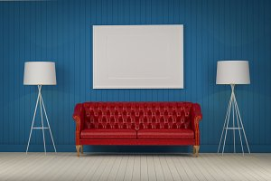 red sofa in the room