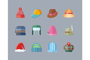 Set of Hat Flat Design Collectionv