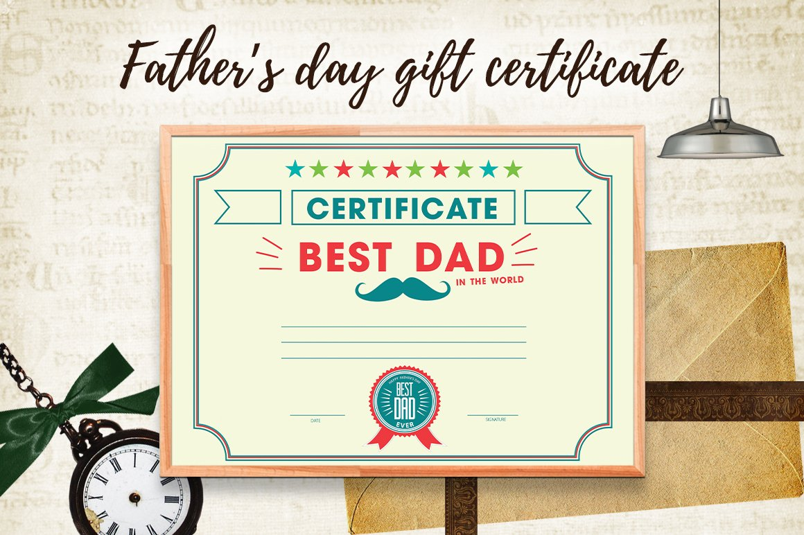 father s day gift certificate card templates creative market