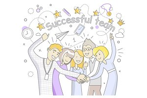 Successful Team People Design Flat