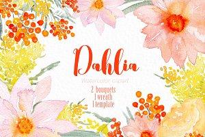 Dahlia orange. Watercolor clipart