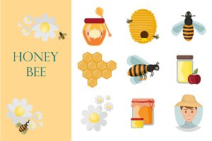 Icons apiaries and bee vector