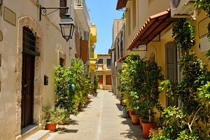 Typical narrow street in Rethymno