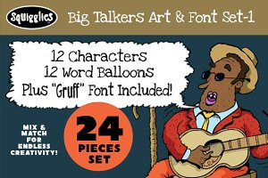 Big Talkers Art & Font Set-1