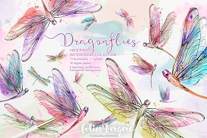 Watercolor Dragonflies Clipart