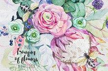 Bouquet of flowers. Watercolor.