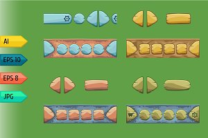 Set of game stone buttons.