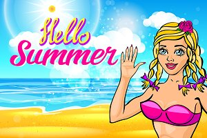 vector blonde in a pink bikini sunny