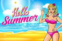vector blonde in a pink bikini