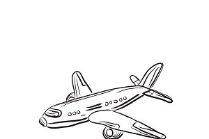 airplane, design element, sketch