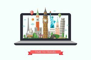 Traveling Website Template on Screen