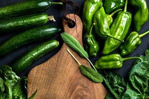 Fresh raw green ingredients