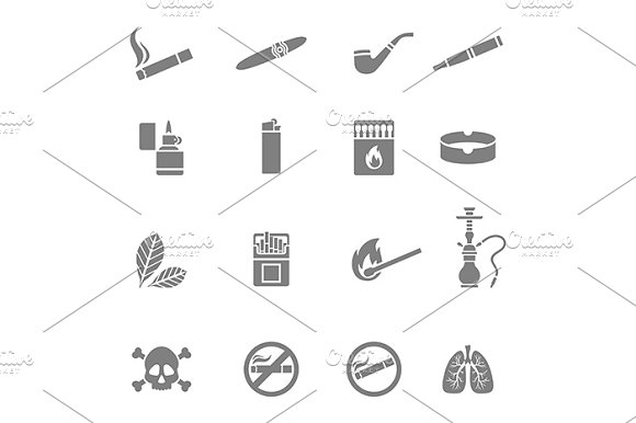 Smoking icons set in Graphics