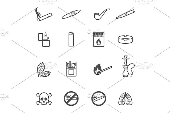Smoking icons set in Graphics - product preview 1