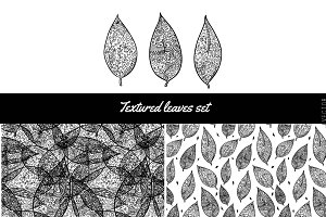 Textured leaves set